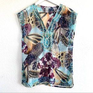Vintage Alberto Makali Butterfly Sheer Beaded Top